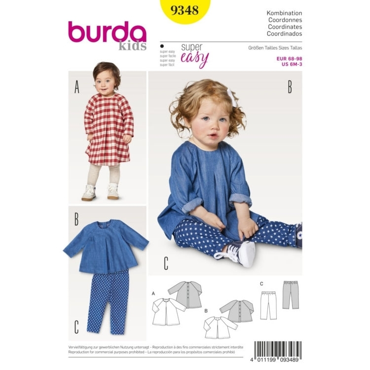 Sewing pattern Burda 9348, baby: dress, top and pants | fabrics ...