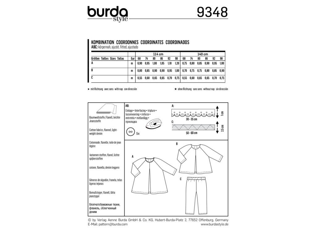 Sewing pattern Burda 9348, baby: dress, top and pants   fabrics ...