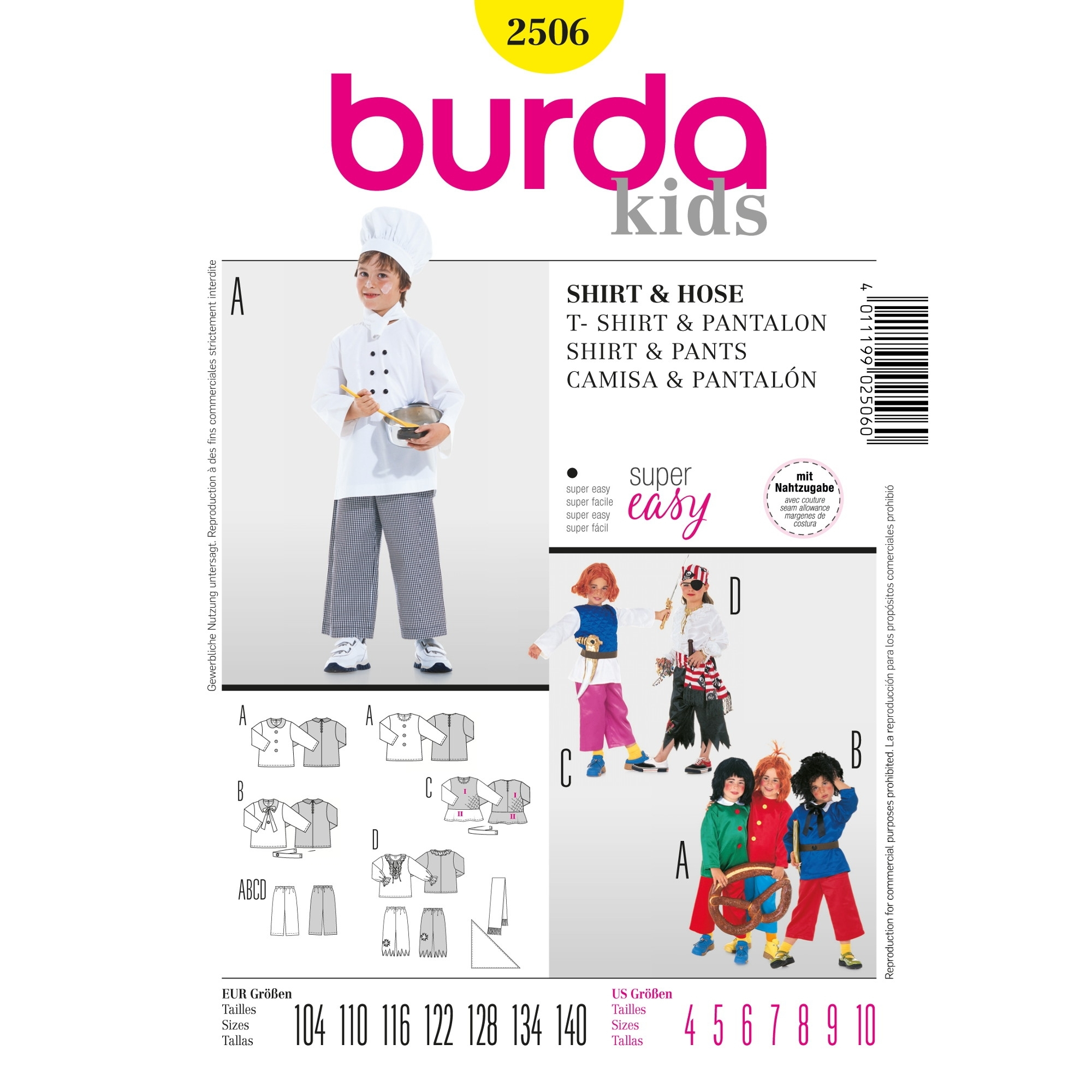 Paper patterns costumes, Burda 2506