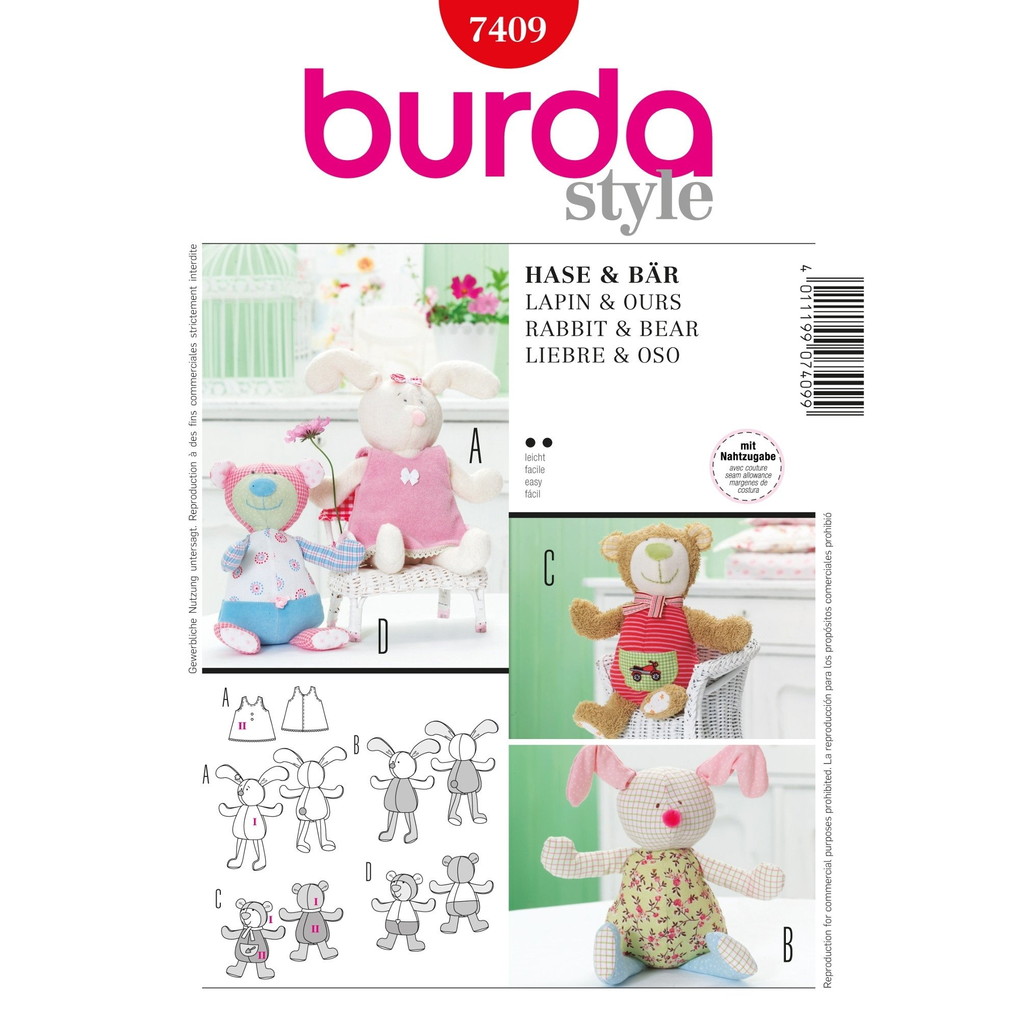 Naaipatron Rabbit & Bear, Burda 7409