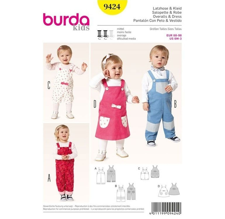 Sewing pattern Overalls & Dress, Burda 9424 | fabrics-hemmers.co.uk