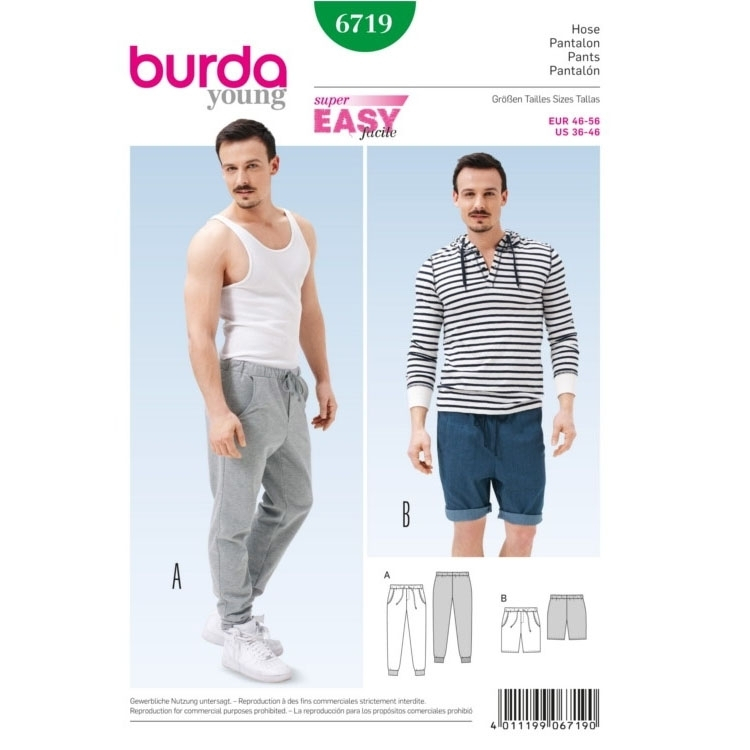 Sewing pattern Men`s Pants, Burda 6719