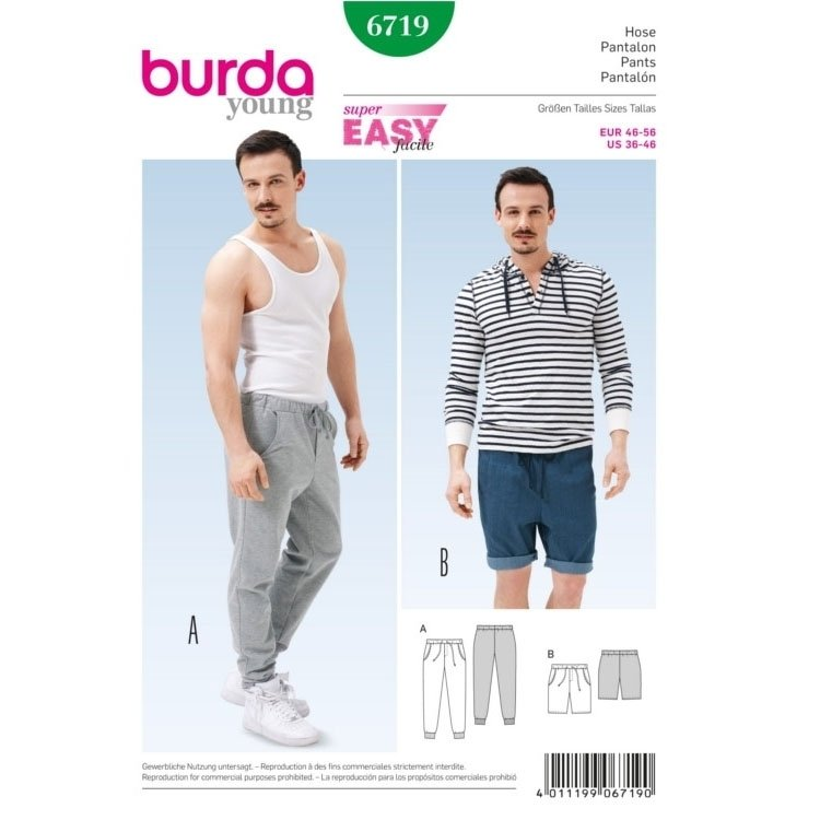 Sewing pattern Pantalon pour l`homme, Burda 6719