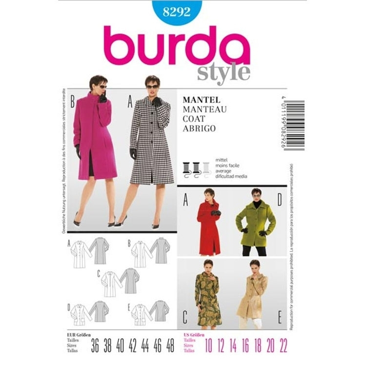 Paper Pattern Coat, Burda 8292
