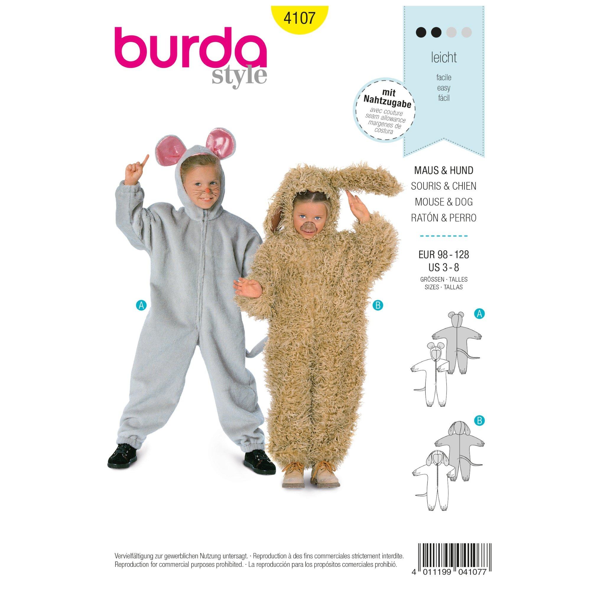 Schnittmuster Maus und Hund, Overall, Burda 4107 | stoffe-hemmers.de