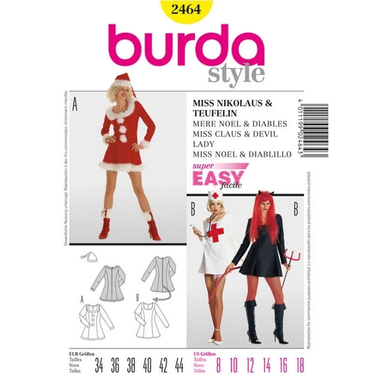 Sewing pattern Miss Claus & Devil Lady, Burda 2464