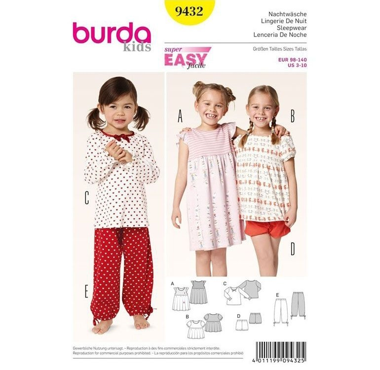 Sewing pattern Sleepwear, Burda 9432 | fabrics-hemmers.co.uk