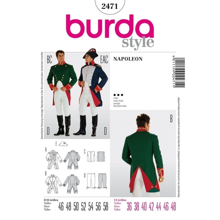 Sewing patterns napoleon, Burda 2471