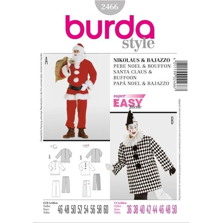 Sewing patterns Père Noël & Bouffon, Burda 2466