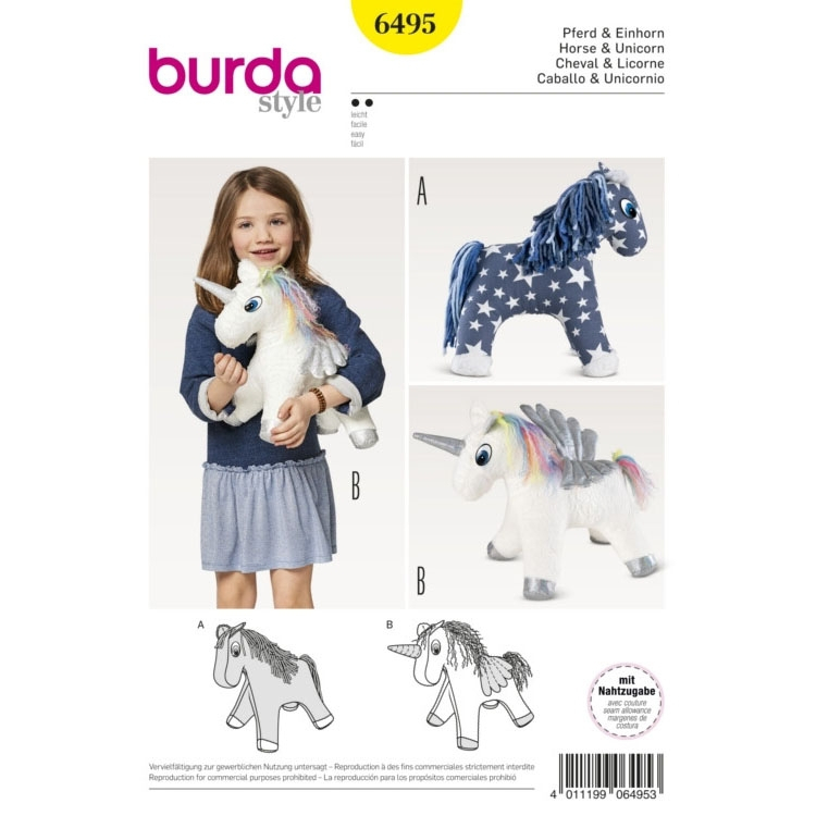 Sewing pattern horse and unicorn, Burda 6495 | fabrics-hemmers.co.uk