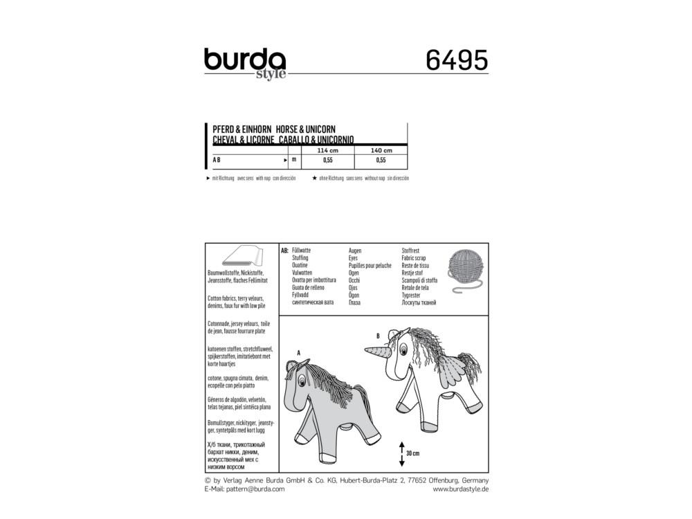 Schnittmuster Pferd und Einhorn, Burda 6495 | stoffe-hemmers.de