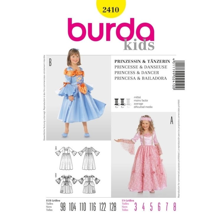 Paper pattern Princess & Dancer, Burda 2410