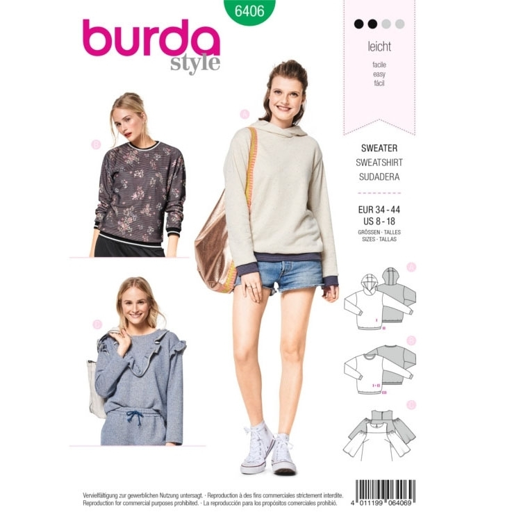 Sewing pattern Burda 6406, sweater / hoodie | fabrics-hemmers.co.uk