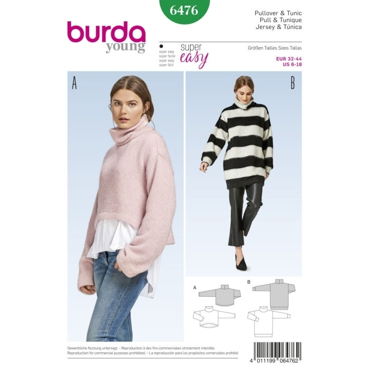 Sewing pattern pullover, Burda 6476 | fabrics-hemmers.com