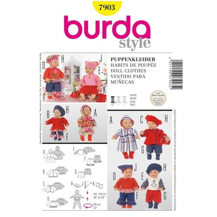 Paper Pattern Doll Dress, Burda 7903