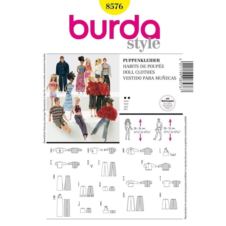 Paper Pattern Doll Clothes, Burda 8576