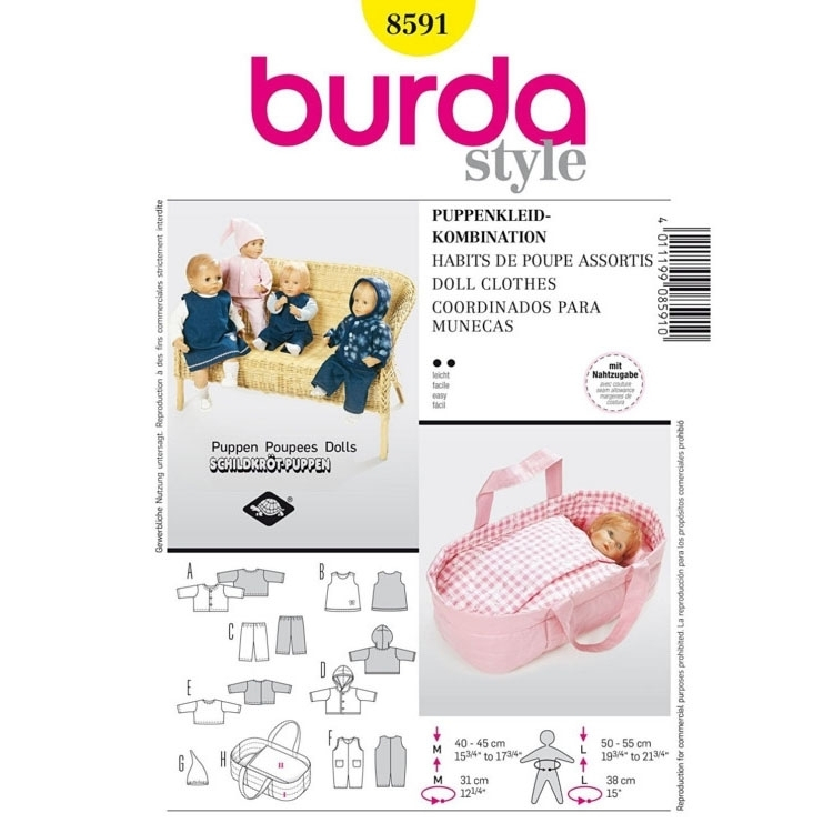 Paper Pattern Doll CLothes, Burda 8591