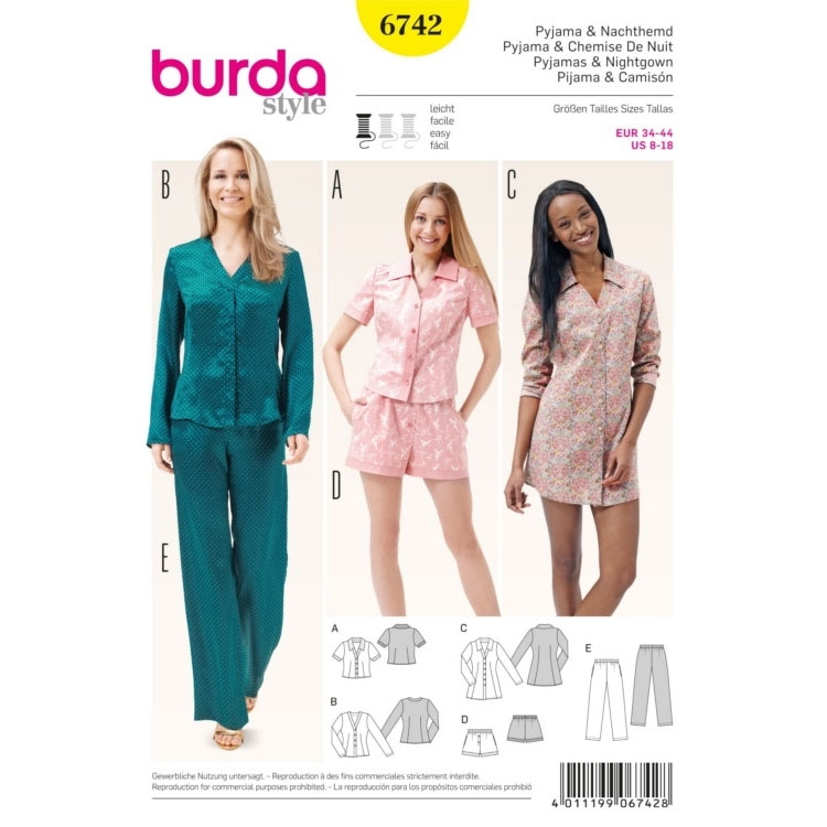 Sewing pattern Pyjama, Burda 6742 | fabrics-hemmers.co.uk