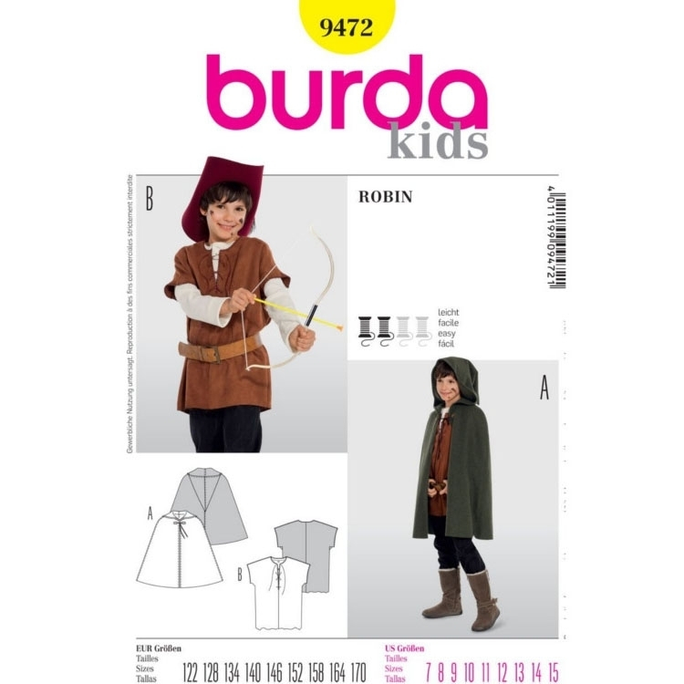 Sewing pattern ROBIN, Peleryna, Burda 9472