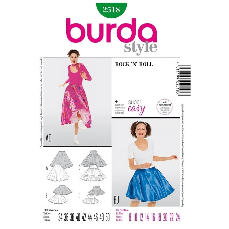 Sewing patterns Spódnica Rock 'n' Roll, Burda 2518