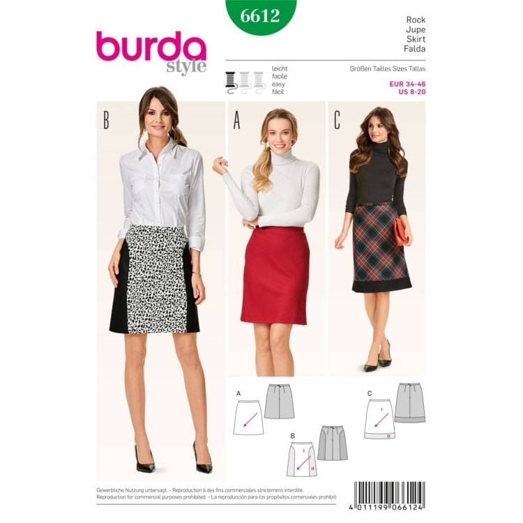 Skirt , Burda 6612 | fabrics-hemmers.com
