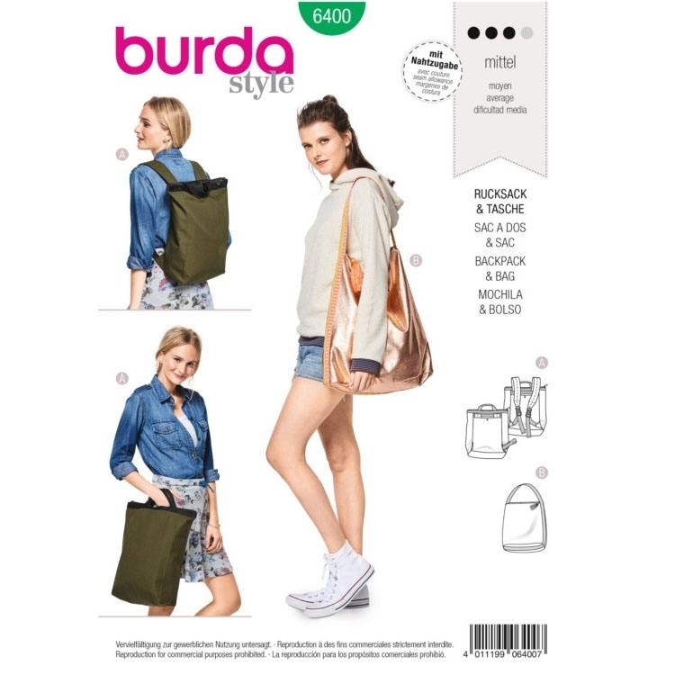 Sewing pattern Burda 6400, backpack and bag | fabrics-hemmers.co.uk