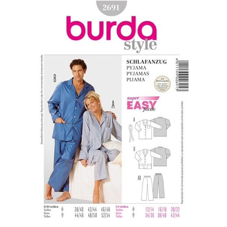 Schnittmuster Schlafanzug, Burda 2691   stoffe-hemmers.de