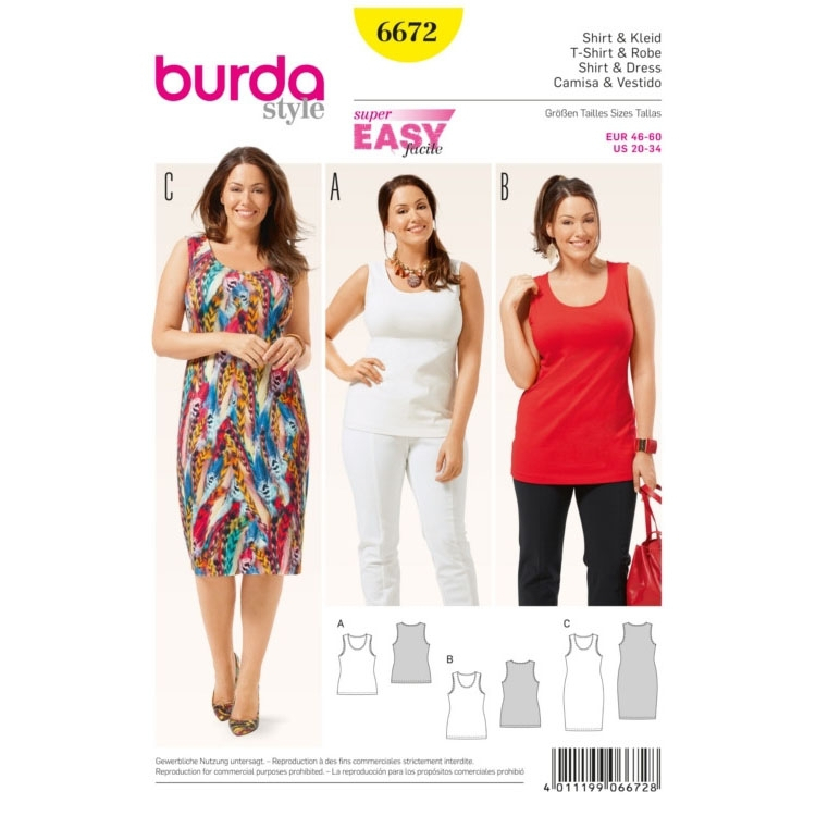 Shirt & Dress, Burda 6672