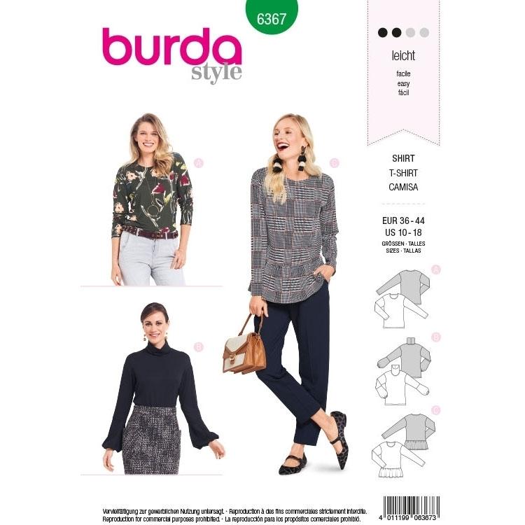 Schnittmuster Shirt, Burda 6367 | stoffe-hemmers.de