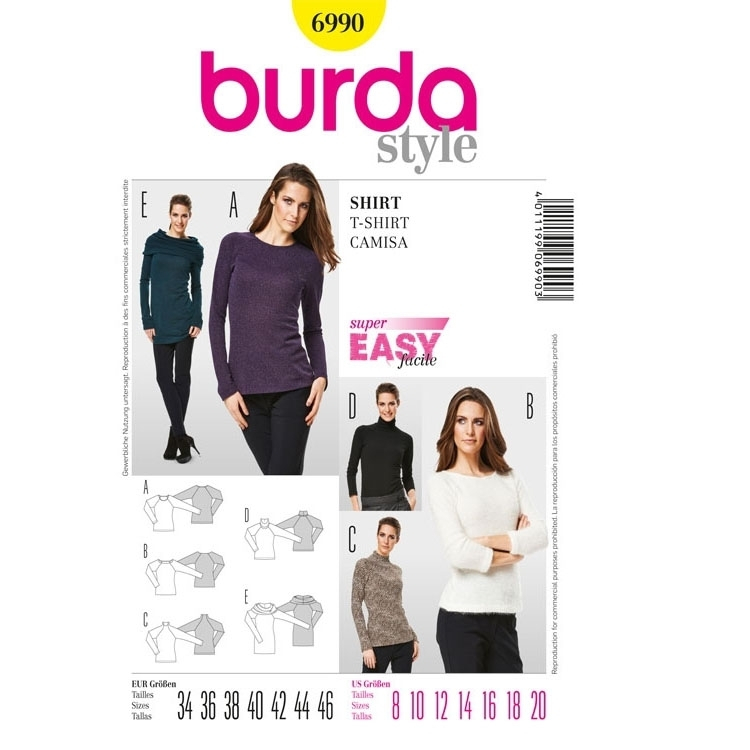 Sewing pattern Shirt, Burda 6990