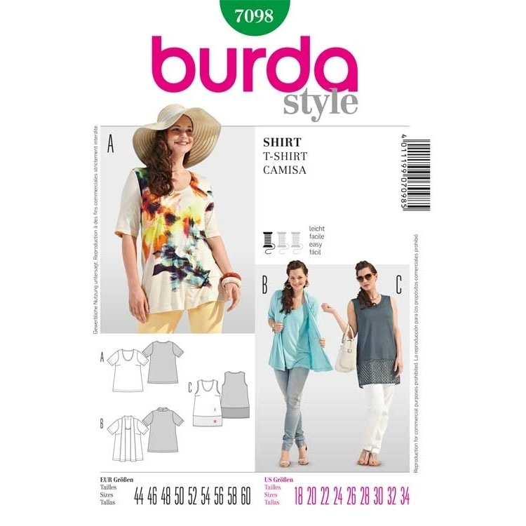 Schnittmuster Shirt/ Top – Two in One, Burda 7098 | stoffe-hemmers.de