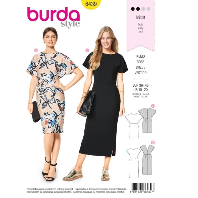 Sewing pattern dress, Burda 6439 | fabrics-hemmers.co.uk