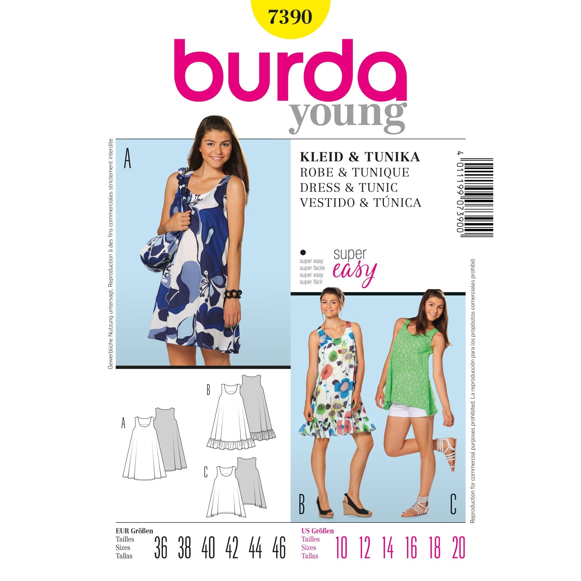 Naaipatron DRESS & TUNIC, Burda 7390