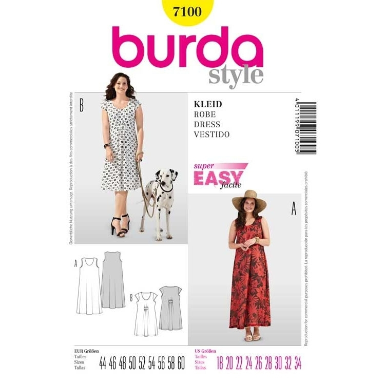 Sewing pattern Sukienka letnia 7100, Burda 7100