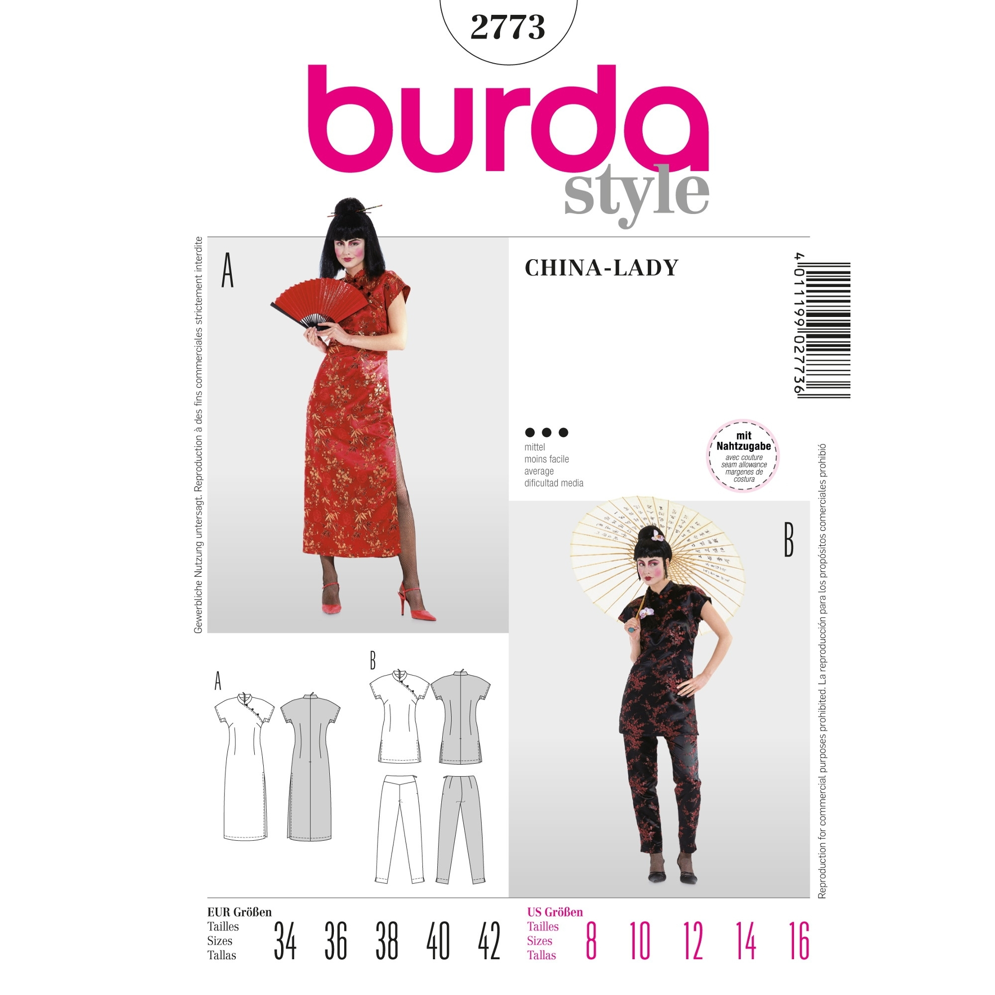 Naaipatronen China Girl, Burda 2773