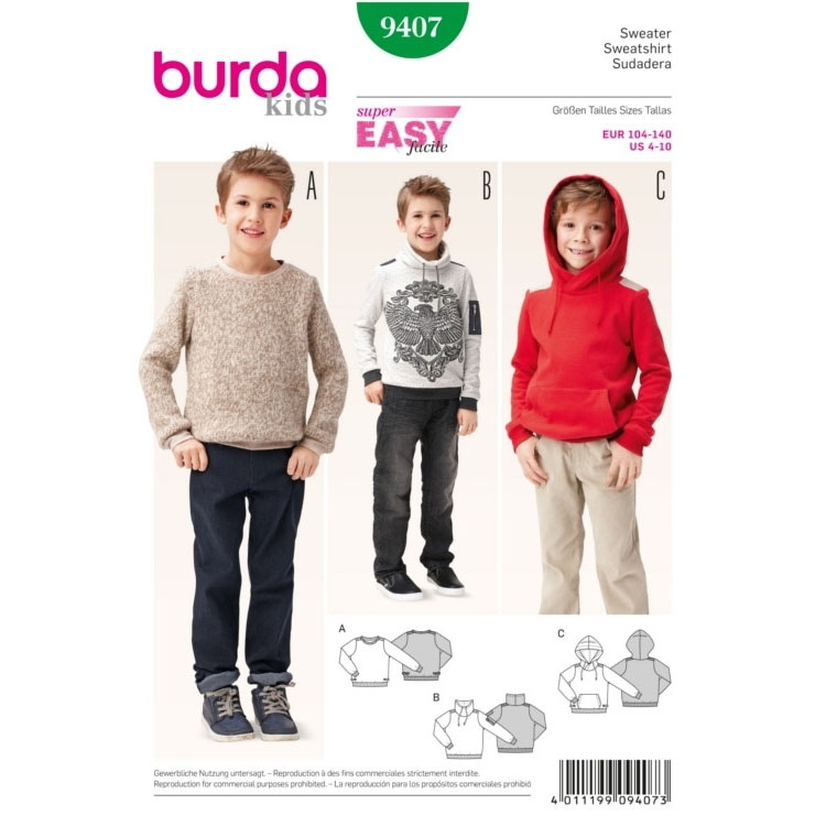 Sewing pattern Sweatshirt, Burda 9407
