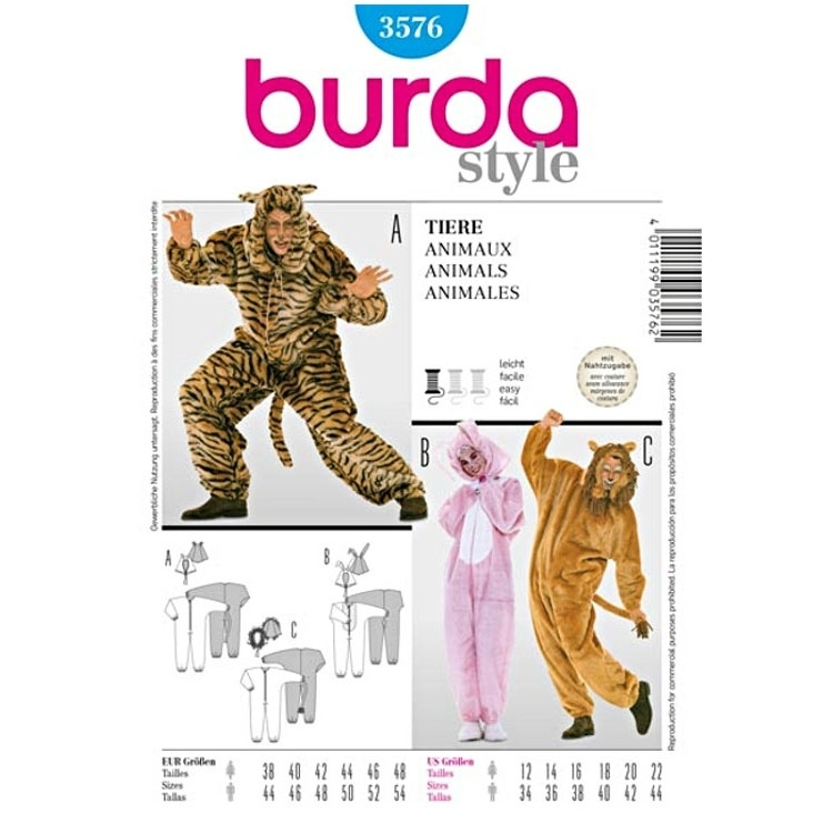 Sewing pattern Animal Costume, Burda 3576