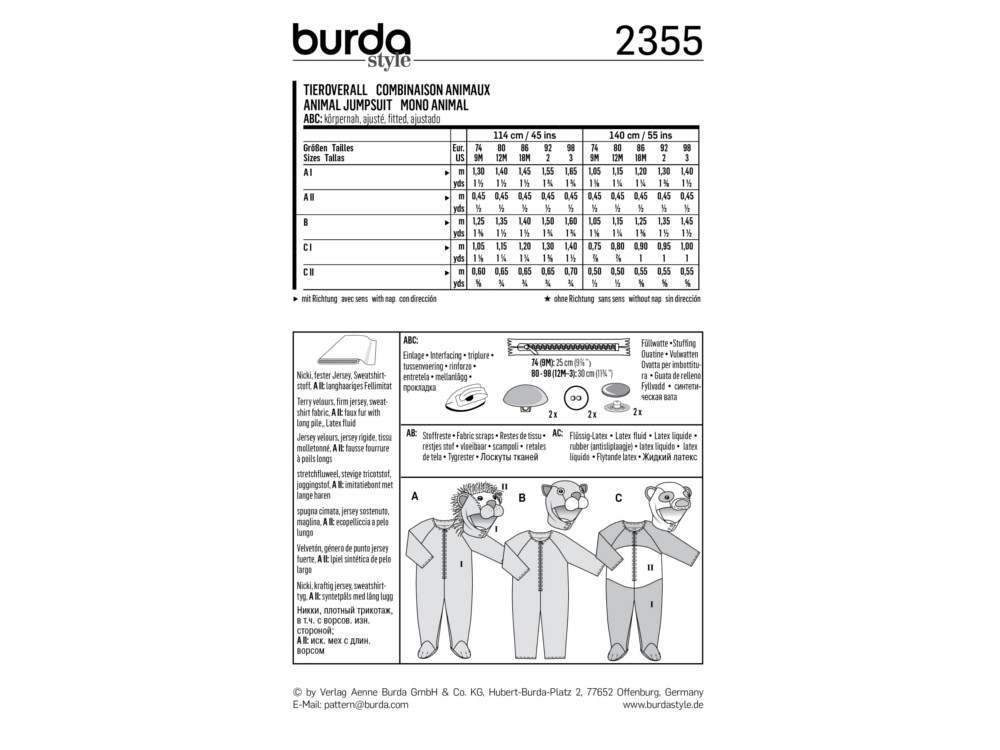 Sewing pattern animal jumpsuit, Burda 2355 | fabrics-hemmers.com