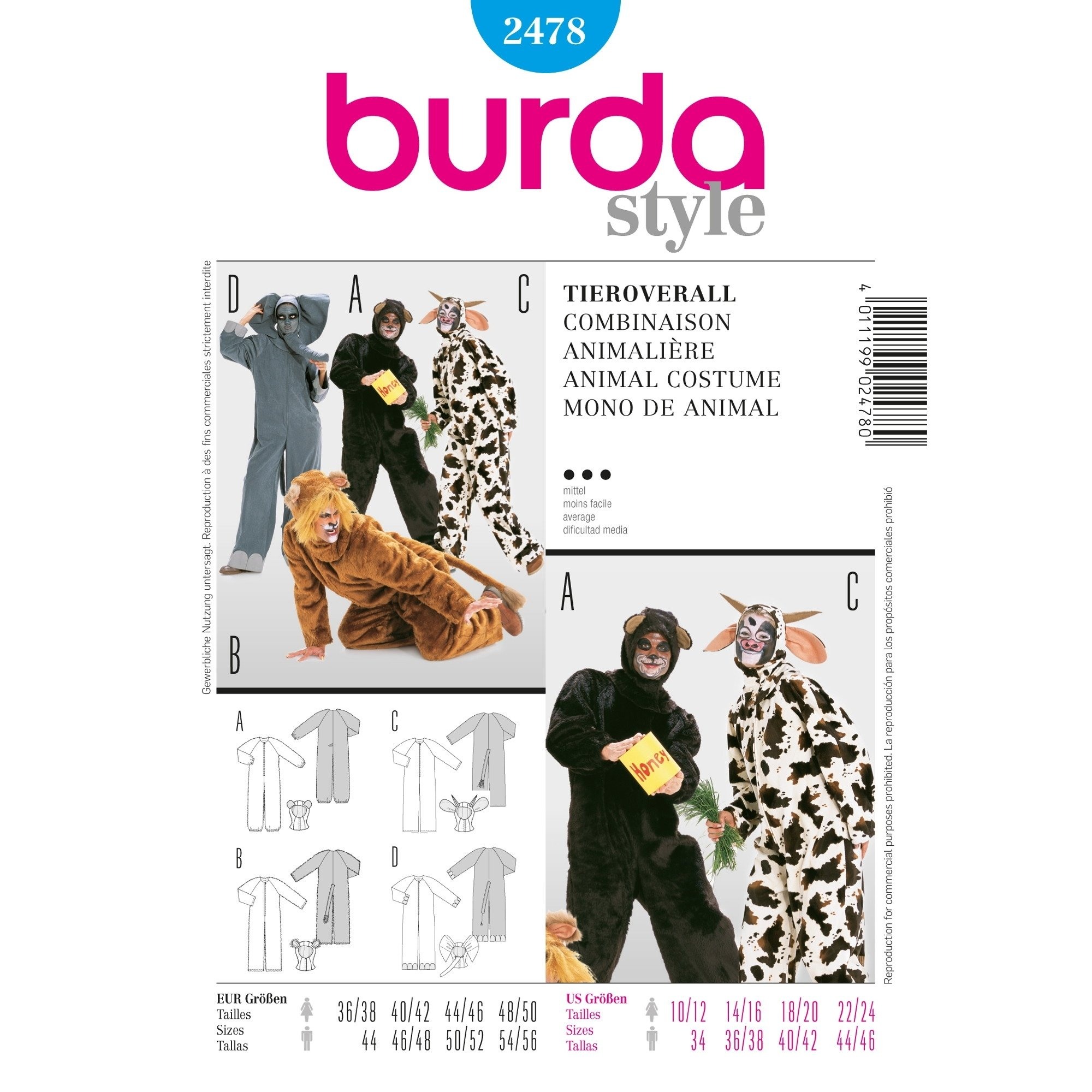 Sewing patterns Combinaison Animalière, Burda 2478