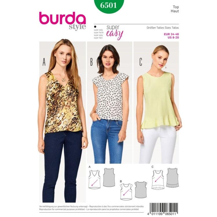 Paper pattern Top, Burda 6501 | fabrics-hemmers.com