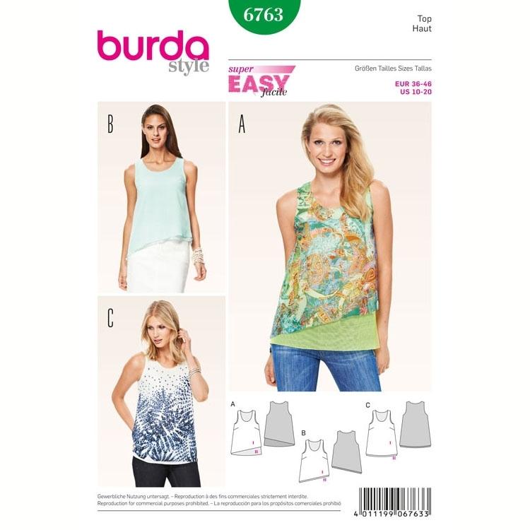 Top, Burda 6763 | fabrics-hemmers.com