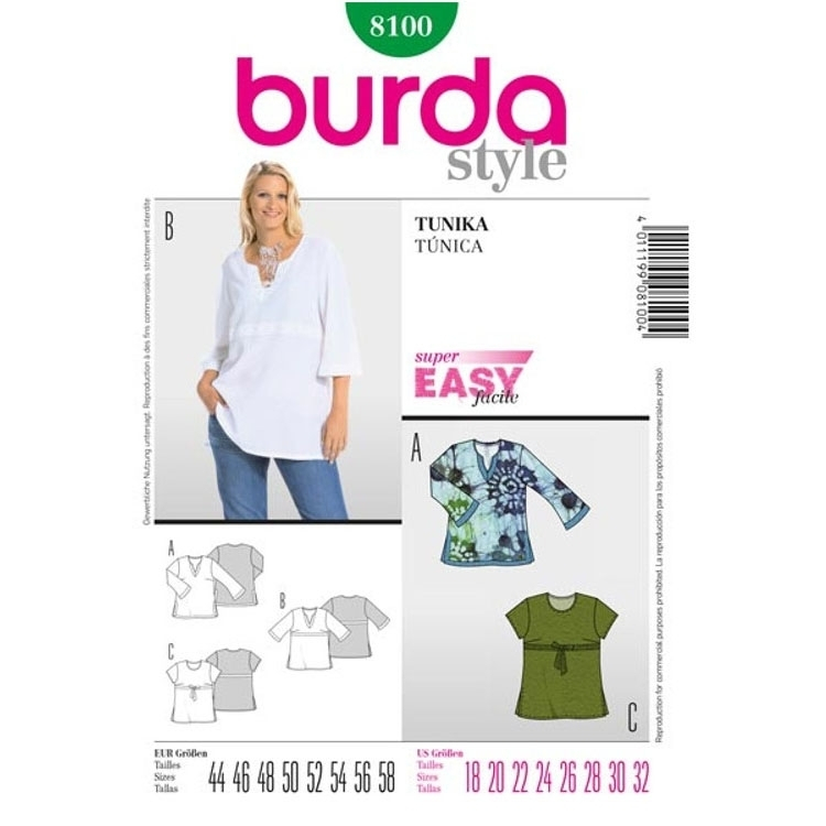 Paper Pattern Tunique, Burda 8100