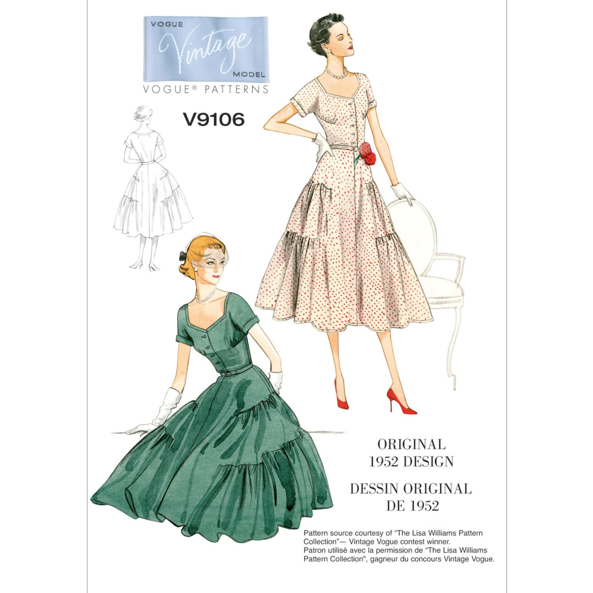 Schnittmuster Vogue 9106 Damen-Vintage-Kleid mit Gürtel | stoffe ...