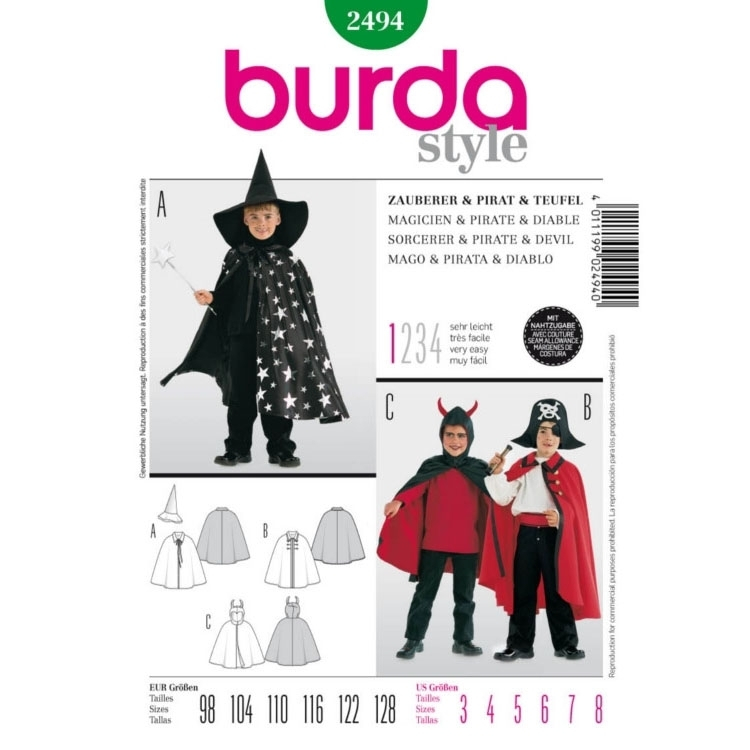 Sewing patterns Magicien & Pirate & Diable, Burda 2494