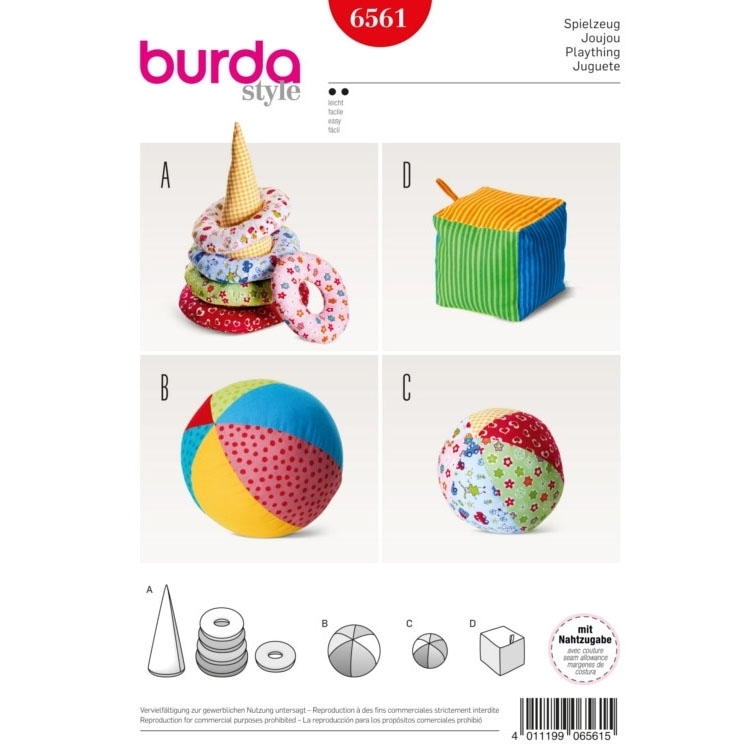Toys , Cone with Rings , Ball , Dicel, Burda 6561