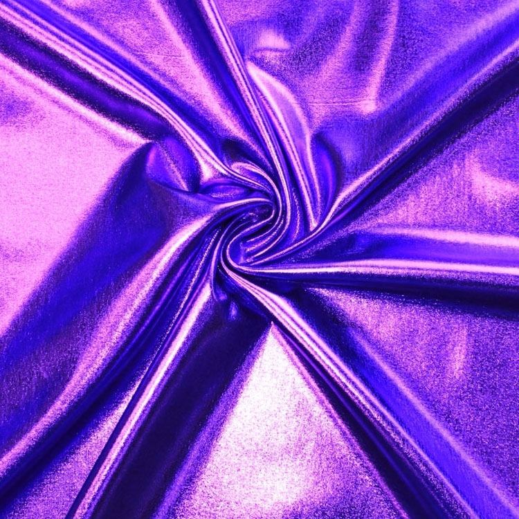 Stretch foil jersey purper