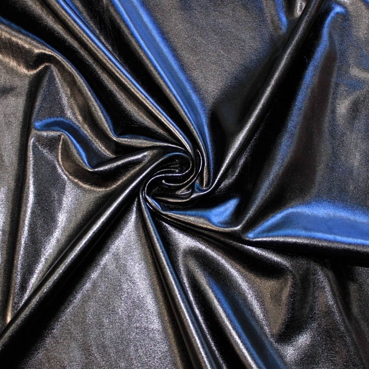 Stretch foil jersey black | 9746-69 | schwarz