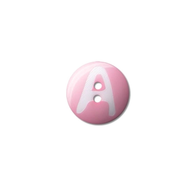 Knoop Tom, letter A, 15 mm, roze