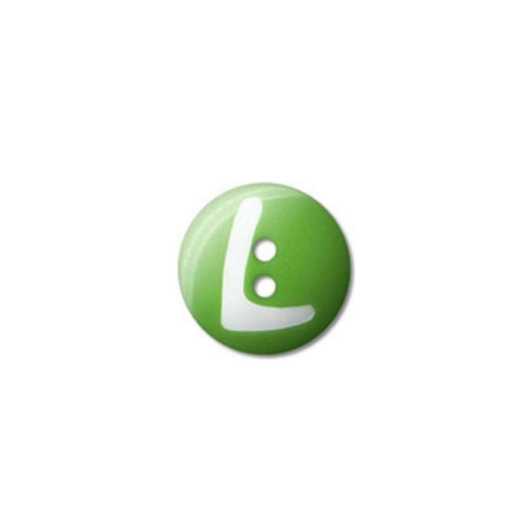 Button Tom, letter L, 15 mm, green