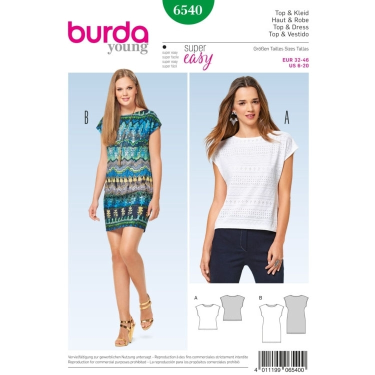Top , Kleid , ärmellos, Burda 6540